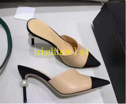 Prom Dresses Day Shipping Australia - 2019 hot sell Pearl Extreme High Heels Women Leather Slippers Beige Black Sandals Catwalk Heels Pumps Woman Dress Prom Shoes Free Shipping