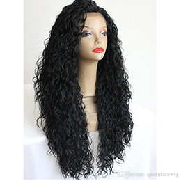 jet black curly wigs UK - Long Afro kinky Curly Synthetic Hair Wigs For Black Women Jet Black Heat Resistant Lace Front Wigs 1# 2# 4# Cosplay wig