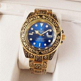 $enCountryForm.capitalKeyWord NZ - 2019 New Mens Luxury Stainless Steel Carved Gold Quartz Watch Rox Fashion Military Clock Sports Classic Watch Relógio masculino