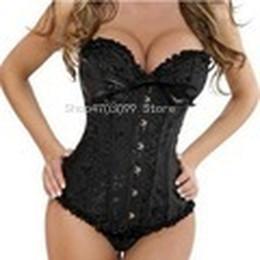 4xl 5xl 6xl lingerie sexy 2019 - Sexy lace up Satin Jacquard Overbust Corset shoulder straps zipper Lingerie Waister Cincher Bustier Plus Size S-6XL chea