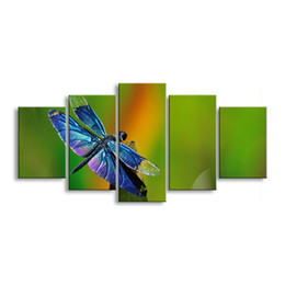 Art Canvas Prints Australia - 5 pieces high-definition print dragonfly canvas painting poster and wall art living room picture QIT5-004