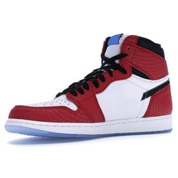 HigH top basketball sHoes online shopping - 1 OG High Spider Man Origin Story Men Basketball Shoes Top Quality New Chicago Crystal Athletics Sneakers Sport Shoes