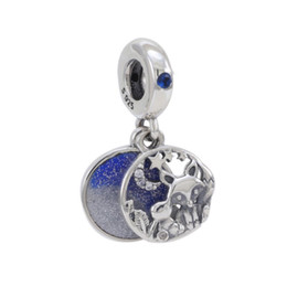 pandora christmas charms Australia - Fit Original Pandora Charm Bracelet 925 Sterling Silver Blue Lampwork Moon Star Leaf Fox Rabbit Pendant Beads DIY Making Women Jewelry