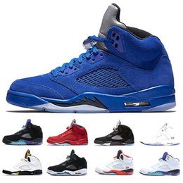 Clear Balls Australia - 2019 cheap 5 5s men Basketball Shoes Blue Raging Bull Suede White Camo Sneakers 5s Men s Basket ball Shoes Sneakers Sports mens Trainers