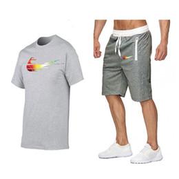 Wholesale summer sportswear suit resale online – Men Running Summer Fahion Designer tracksuit men Two Piece Sweatshirts Suit Male T Shirt Shorts Mens Suit Clothing Fashion Jogger sportswear