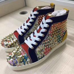 Venta al por mayor de [Caja original] Zapatillas Gold Spikes High Top con fondo rojo, zapatillas de deporte de lujo Unisex, zapatos cómodos y cómodos - Ocio y comodidad