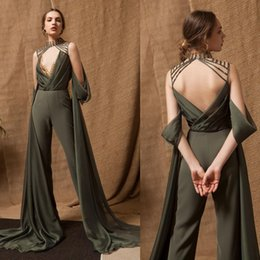 $enCountryForm.capitalKeyWord NZ - Sexy Backless Evening Dresses Unique Design Satin Girls Pageant Dresses High Neck Jumpsuits Mother Of Bride Pants Suits
