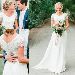 Modern Vintage Dresses China Australia - Vintage Western Country Wedding Dresses Cap Sleeves Zipper Back Beaded Chiffon Bridal Gowns from China 2019 Vestidos De Novia