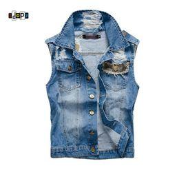 $enCountryForm.capitalKeyWord Australia - Idopy New Stylish Cool Men`s Denim Vest Plus Size 5XL Vintage Ripped Distressed Waistcoat Camo Sleeveless Jeans Jacket For Men