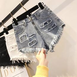 8668683354 High-waisted Denim Shorts Spring Summer 2019 New Korean Zipper Tassel Hole  Wide Legs Sexy Hot Pants Jeans Shorts Girl Ladies