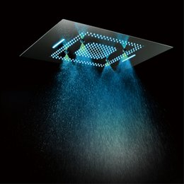 Phone Shower Australia - Luxury Concealed Ceiling Electric LED Shower Heads Rainfall Showerhead 600x800mm Waterfall,Misty Phone Control Colorful Showers
