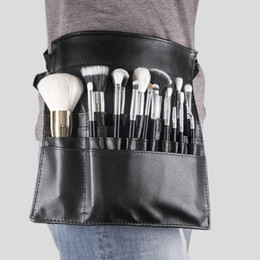 Sport bag String online shopping - Tamax New Fashion Makeup Brush Holder Stand Pockets Strap Black Belt Waist Bag Salon Makeup Artist Cosmetic Brush Organizer