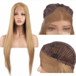 Brown Straight Wig Part Australia - Hot Selling Synthetic Lace Front Wigs For Women 27# Straight Long Wigs Middle Part Glueless Light Brown Color Synthetic Hair Cosplay Wigs