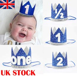 Wholesale First Birthday Party Hat Decor Hair Accessory Baby Girl Princess Crown Blue Baby Birthday Party Hats