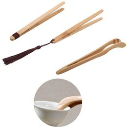 string tongs NZ - Hot Candy Fruit Salad Small Tools Food Tongs Bamboo Tea Clips Kitchen Utensils With String Tea Cookie Anti-scalding Tea Clip