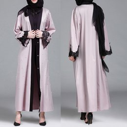 Wholesale 2019 NEW Muslim Women Islamic Clothing Lace Splicing Long Coat Middle East Long Robe hijab abayas for women dress