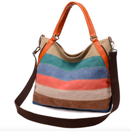 Multi Color Ladies Handbags Australia - 2019 Bolsos Mujer Bolsas Feminina Stitching Color Canvas Ladies Handbag Contrast Bag Retro Large Capacity Shoulder Messenger