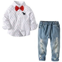 6db75c917843 Fashion 2019 new Spring kids designer clothes boys Suits kids Clothing Sets  long sleeve shirt +Jeans 18 24 months boys clothes Outfits A2536