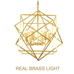 led light squares Canada - European golden copper geometric cube pendant light lamp LED droplight creative diamond square frame simple modern brass
