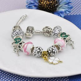 White Silver Bracelet Australia - Crystal Beaded Fit Pandora Charm Bracelets White Glass Beads Bangles Butterfly Key Pendant Women Luxury Silver Palted Bracelets Jewelry P76