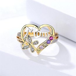 $enCountryForm.capitalKeyWord Australia - colorful Crystal Heart Mom Ring Finger rings Fashion Jewelry Gift for Mother Birthday hot designer jewelry women rings engagement rings