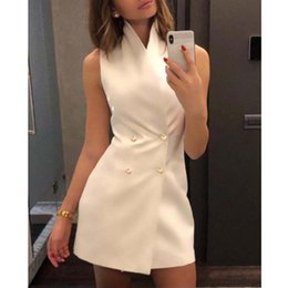 $enCountryForm.capitalKeyWord Australia - Double Breasted Bodycon Dress Women Sleeveless Short Summer Dresses 2019 Elegant Office Ladies Party Dress Sexy Mini Vestidos Y19073101