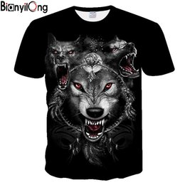 $enCountryForm.capitalKeyWord Australia - 3D printing wolf T-shirt men's personalized T-shirt 2019 new summer short-sleeved O-neck hip-hop top and drop boat