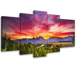 Chinese  5 Panels Sunset Mountain Painting Wall Art Grand Teton National Park Landscape Picture Print for Home Decor with Wooden Framed Ready to Hang manufacturers