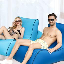 10 colores inflable portátil Sleeping Air Sofá silla tumbona colchón perezoso cama inflable de la playa al aire libre Muebles de campamento CCA11651 1 unids en venta