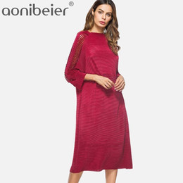 $enCountryForm.capitalKeyWord Australia - Aonibeier Solid Color Straight Long Sleeve Casual Dress Slash Neck Ladder Insert Raglan Sleeve Autumn Midi Dress Nice Fashion