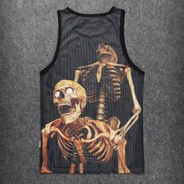Wholesale men's tanks tops resale online - Funny Skulls Tank Tops d Print Bone Daddy Pattern Sleeveless Shirt Striped Vest Sexy Men s Underwear Clothing Stringer Singlets Jersey