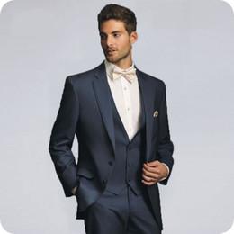 $enCountryForm.capitalKeyWord Canada - Dark Blue Groom Tuxedos Men Suits for Wedding Notched Lapel Man Blazer Jacket Pants Vest 3Piece Costume Homme Terno Masclino Prom Party