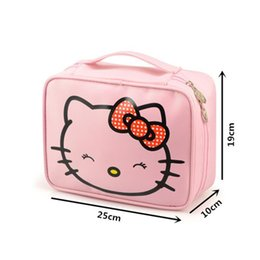 ab7c86544d Wholesale- Girl s Hello Kitty Cosmetic Bag Cute Travel Makeup Organizer Case  Beautician Beauty Suitcase Accessories Supplies Products