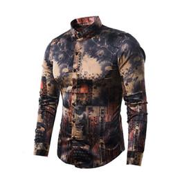 2fb4ea228b68 Silk Satin Shirt Men 2019 Vintage Print Baroque Style Long Sleeve Shirt Mens  Causal Button Down Dress Shirts Wedding Party Tops