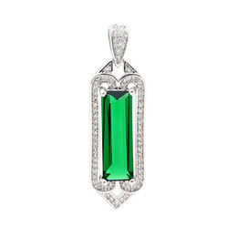 Cheap Chain Pendants UK - Hainon square green crystal Pendant Necklace Best Girlfriend Gift Jewelry Cheap wholesale 18 inch chain 2019 new necklace