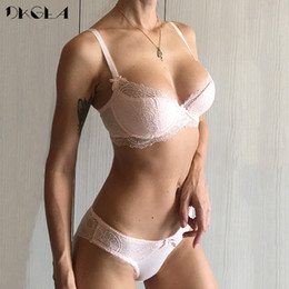 8c750d67490 Fashion Young Girl Bra Set Plus Size D E Cup Thin Cotton Underwear Set Women  Sexy Brassiere Pink Lace Bras Push Up Embroidery