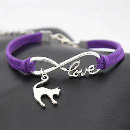 $enCountryForm.capitalKeyWord Australia - Vintage Infinity Love Cute Elegant Cat Lover Pendant Handmade-woven Purple Leather Suede Cuff Bracelets & Bangles for Women Men Jewelry Gift