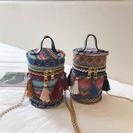 Wholesale Straw Ladies Handbags Australia - Designer Straw Bags Rattan Woven Beach Bag Round Shoulder Bags Women Bucket Ladies Crossbody Handbag Female Bohemian Bolsa