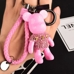 Wholesale 2019 Leather Rope Car Keychain Keyring Handmade Rhinestone Crystal Bear Key Chain Keychain Handbag Accessories Gifts