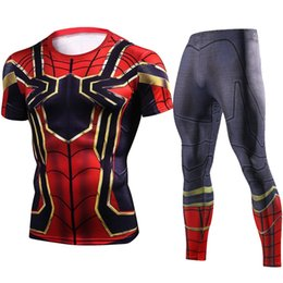 $enCountryForm.capitalKeyWord UK - Superhero Men Compression Shirts 3D Teen Run Jerseys Sports Crossfit T-Shirts Tights Brand Clothing MMA 2 Piece Set Tracksuit #78386