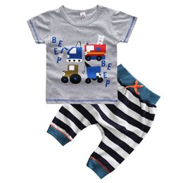 Chinese  Boys Summer Clothes Set T-shirt &Pants Baby Toddler Kid Casual Print Shop Truck Clothing Child Cotton Outfits Shorts O-neck manufacturers