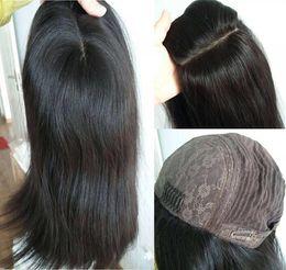 Long Fine Hair NZ - 10A Grade Black Color Finest Mongolian Virgin Human Hair Silky Straight 4x4 Silk Base Jewish Wigs Kosher Wig The Best Sheitels Free Shipping