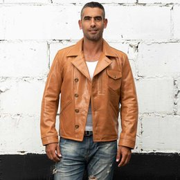 $enCountryForm.capitalKeyWord Australia - Men's Harley oil wax jacket the layer cowhide genuine leather lapel neck single-breasted short youth ICONS leather coat