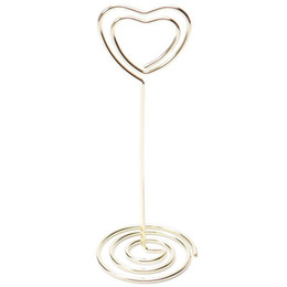 Gold table number holders online shopping - 6 Heart Shape Photo Holder Stands Table Number Holders Place Card Paper Menu Clips For Wedding Party Decoration Gold CNIM Ho