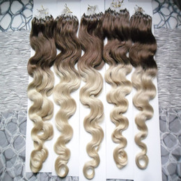blonde human hair micro extensions 2019 - Body Wave Micro loop hair extensions 100G 1g strand 100% Human Hair Extension 100s pack Micro Bead Hair Extensions disco