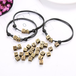 name beads wholesale Australia - A-z Letters Bracelets For Women And Men Personality Name Bracelet Jewelry Retro Bronze Hearts Match 26 Letters Bracelets Gifts