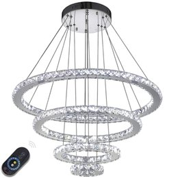 K9 Crystal Round Pendant Australia - Modern Round Ring Clear K9 Crystal Chandeliers Lighting Ceiling Pendant Light Fixture Lamp 4 Rings for Living Dining Bedroom Foyer Hallway