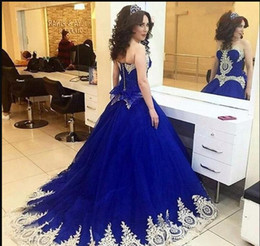 dresses 15 anos UK - Saudi Arabic Royal Blue Quinceanera Dresses Sweet Heart Sweep Train Gold Appliques Prom Party Gowns For Sweet 15 vestidos de 15 anos 2019