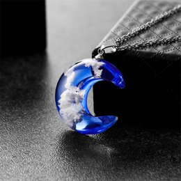 protection pendants NZ - Creative Handmade Jewelry Blue Sky White Clouds Moon Pendant Necklaces For Women Environmental Protection Resin Jewelry