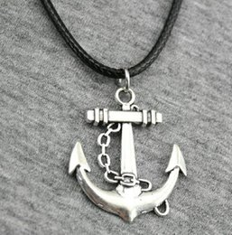 anchor pendant silver NZ - Hot Sell! 20pcs lot Tibetan Silver Anchor Necklace Choker charms Pendant Black Leather Necklace